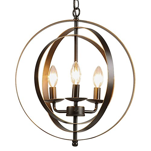 Antique Bronze Three Light Chandelier (CO-Z Antique Bronze 3-Light Industrial Chandelier, Rustic Sphere Pendant Chandelier Lighting, Orb HangingCeiling Light Fixture for Dining/ Foyer/ Bedroom/ Kitchen/ Farmhouse)