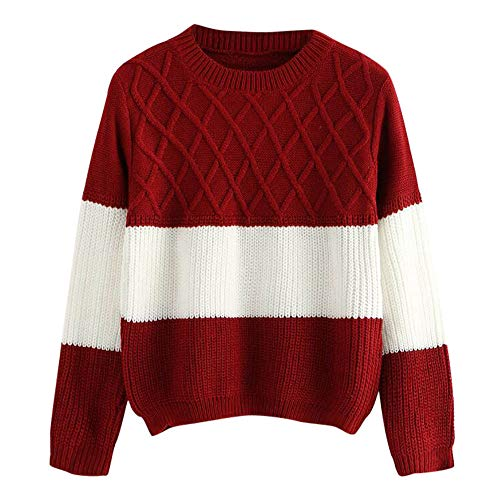 iFOMO Winter Warm Long Sleeve Crewneck Patchwork Colorblock Knit Sweater for Boys(Wine Red,US:6-8)