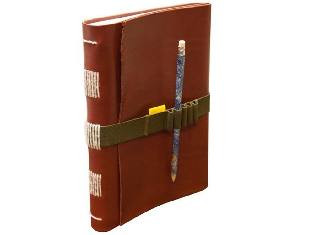 il Torchio - Leather notebook with elastic closure and pencil