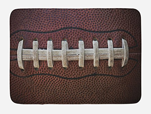 Accessories Football American (Lunarable Sports Bath Mat, American Football Leather Laces Fun Traditional Sport Close Up Photo Print, Plush Bathroom Decor Mat with Non Slip Backing, 29.5 W X 17.5 W Inches, Dark Brown Beige)