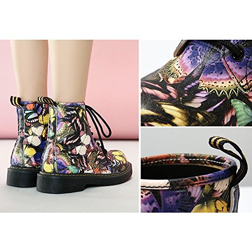 Women Martin Short Boots Butterfly Printing Leather Flat Heel Thicker Plush Warm Casual Shoelace Ankle Shoes PICTURECOLOR-39 z43hw8K9rl