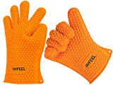 HYFEEL Silicone BBQ Cooking Gloves Kitchen Oven Mitts Heat Resistant for Baking Grilling Frying Barbeque with Fingers,1 Pair (Orange)
