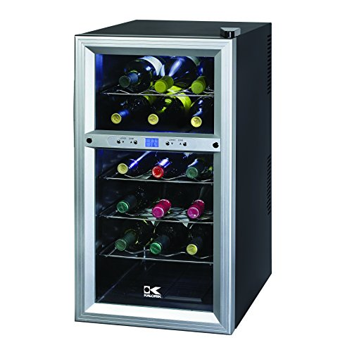 Kalorik Thermoelectric Dual-Zone 18-Bottle Ventilated Wine Cooler, Stainless Steel/Black (Bottom Up Kegerator compare prices)