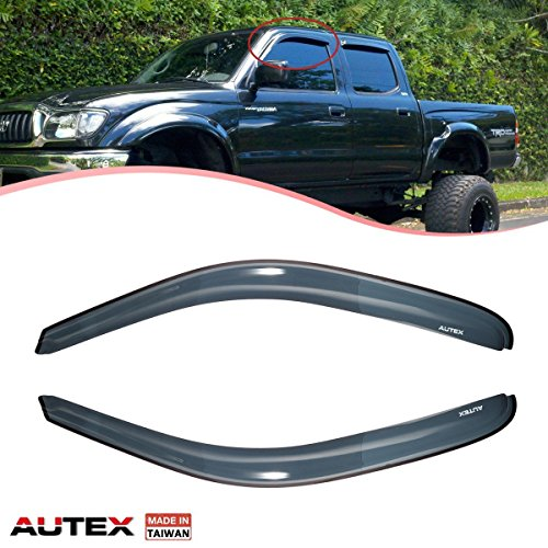 (AUTEX 2 Pcs Tape on Window Visor Fits for 1995 1996 1997 1998 1999 2000 2001 2002 2003 2004 Toyota Tacoma Standard Extend Cab Window Deflector Visor Sun Rain Shade Wind Guard Made in Taiwan)