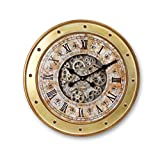"""Melrose 24"""" Brown and Gold Industrial Style Exposed Gear Decorative Wall Mounted Clock with Rivet Details"""
