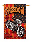 Breeze Decor – Americana Motorcycle Americana – Everyday Patriotic Impressions Decorative Vertical House Flag 28″ x 40″ Printed In USA For Sale
