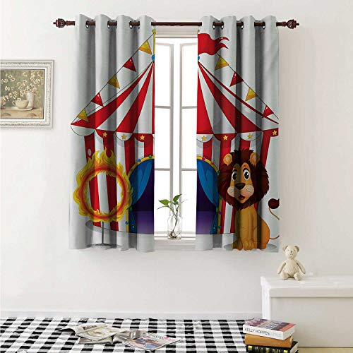shenglv Circus Blackout Draperies for Bedroom Lion and a Fire Ring in Front of The Circus Tent Blazing Flame Adventure Dangerous Curtains Kitchen Valance W72 x L63 Inch Multicolor