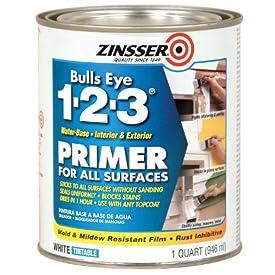 2017 Rust-Oleum 2004 Zinsser Bulls Eye 1-2-3 White Water-Based Interior/Exterior Primer Sealer, 1-Quart