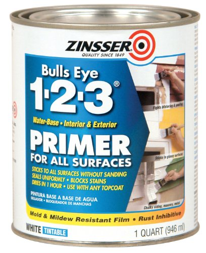 - Rust-Oleum 2004 Zinsser Bulls Eye 1-2-3 Primer, 1 Quart, 946 ml, White