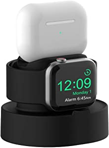 Sokusin Charger Stand for Apple Watch 38mm 40mm 42mm 44mm iWatch 1/2 /3/4 /5/6 /SE, Apple Watch Charging Stand Holder and Night Stand Mode, AirPods Pro Charger Dock,Black?Cables NOT Included?