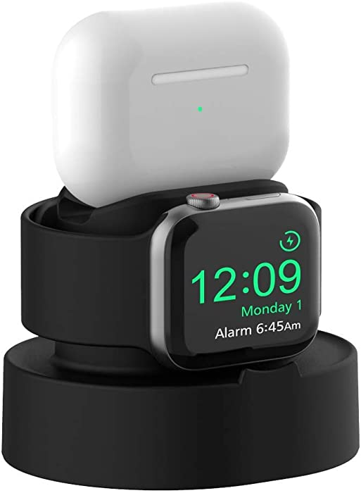 Sokusin Charger Stand for Apple Watch 38mm 40mm 42mm 44mm iWatch 1/2 /3/4 /5/6 /SE, Apple Watch Charging Stand Holder and Night Stand Mode, AirPods Pro Charger Dock,Black【Cables NOT Included】