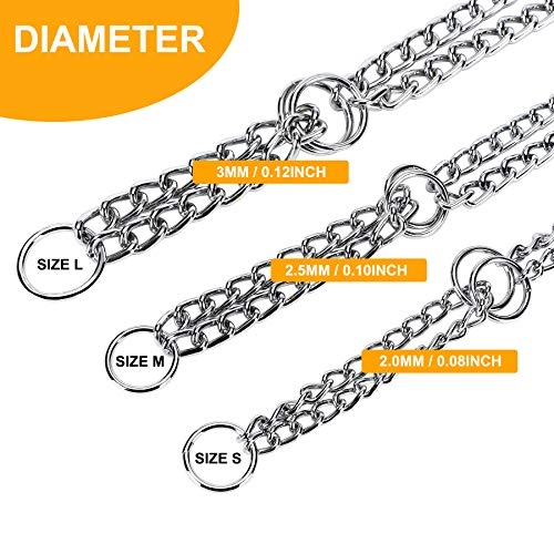 JuWow Martingale Training Chain Collar Stainless Steel Metal Slip Choker Collars, Chrome Plated Durable Rust Proof and No More Pulling.Perfect for Small Medium and Large Dogs(3.0mm24inch)