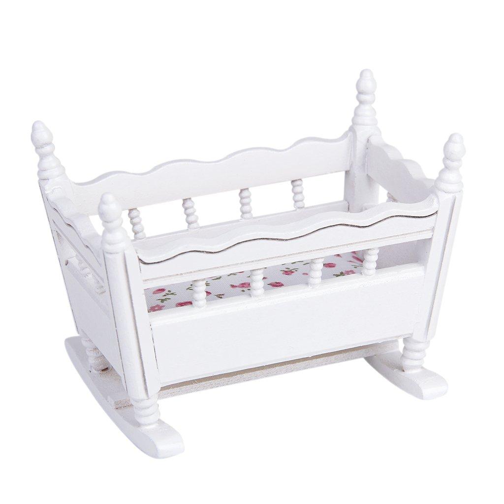 1/12 Dollhouse Miniature Wooden Nursery Cradle Baby Crib---White Generic