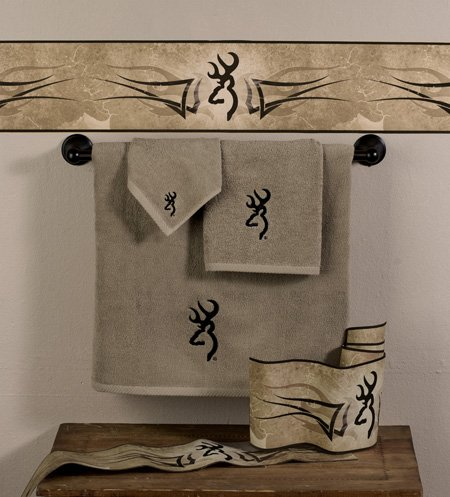 Browning Buckmark 3 Pc Embroidered Bath Towel Set