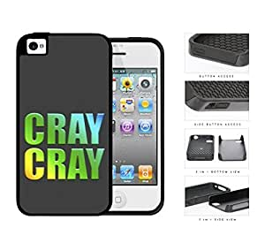Cray Avi Cray Cray in Blue Green Yellow Uppercase Letters Dark Gray Background 2-Piece Dual Layer High Impact Rubber Silicone Cell Phone Case Apple iPhone 4 4s