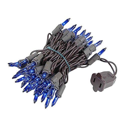 Novelty Lights 50 Light Blue Christmas Mini Light Set, Brown Wire, 11' Long ()