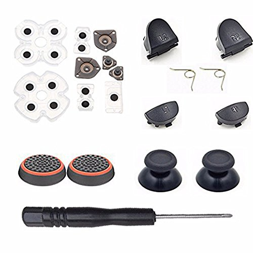 Sony Playstation 4 PS4 Dualshock 4 L1 R1 L2 R2 Trigger Springs Buttons + 2 Joystick Thumb Sticks + 2 Joystick Silicone Caps + 2 Springs + 1 Screwdriver + 1 Set Silicone Conductive Rubber Pads ()