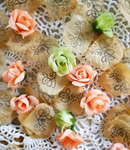 Wedding Confetti, silk rose petals, Soft coral and green silk rosebuds, Wedding Table scatter,Bridal Shower Decorations