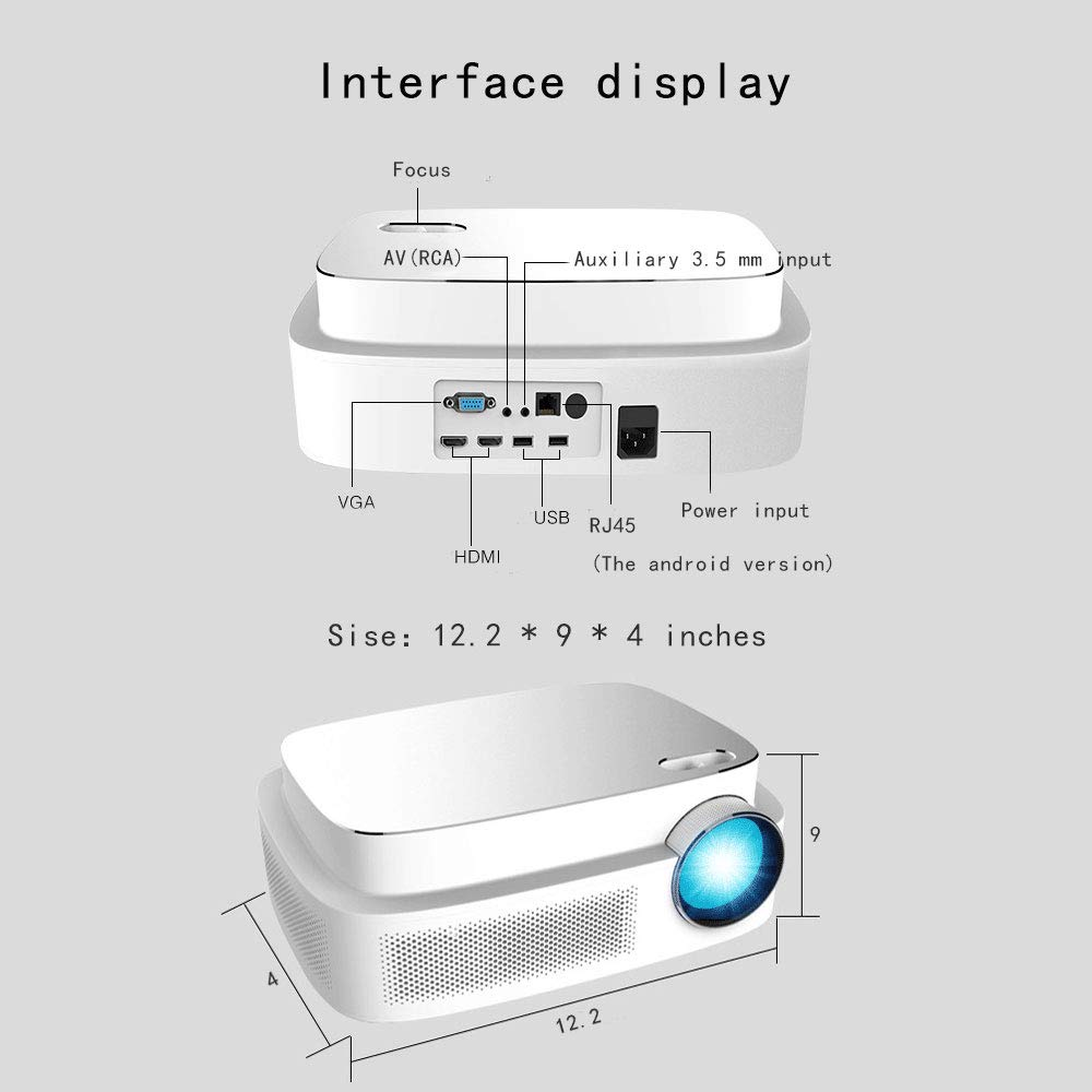 Portable Projector -12000 lumens WiFi 1080p Video Projector LCD LED Full HD Theater Projector, Ideal for Home Entertainment by GAOAG (Image #6)