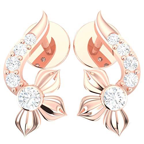 - 0.05ct Round Natural Diamond 10k Rose Gold Earrings For Women Flower Elegant KL Color I1-I2 Clarity