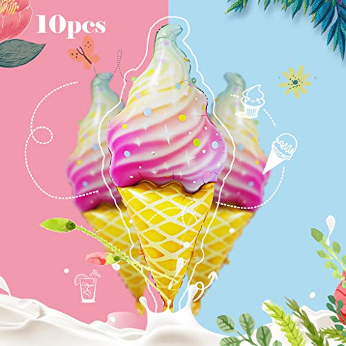 Gotian 10PCS Ice Cream Balloon Party Decor Foil Inflatable Balloon Space Party Balloon for Birthday Wedding Decoration Make Birthday Party Full of Sweet Happy