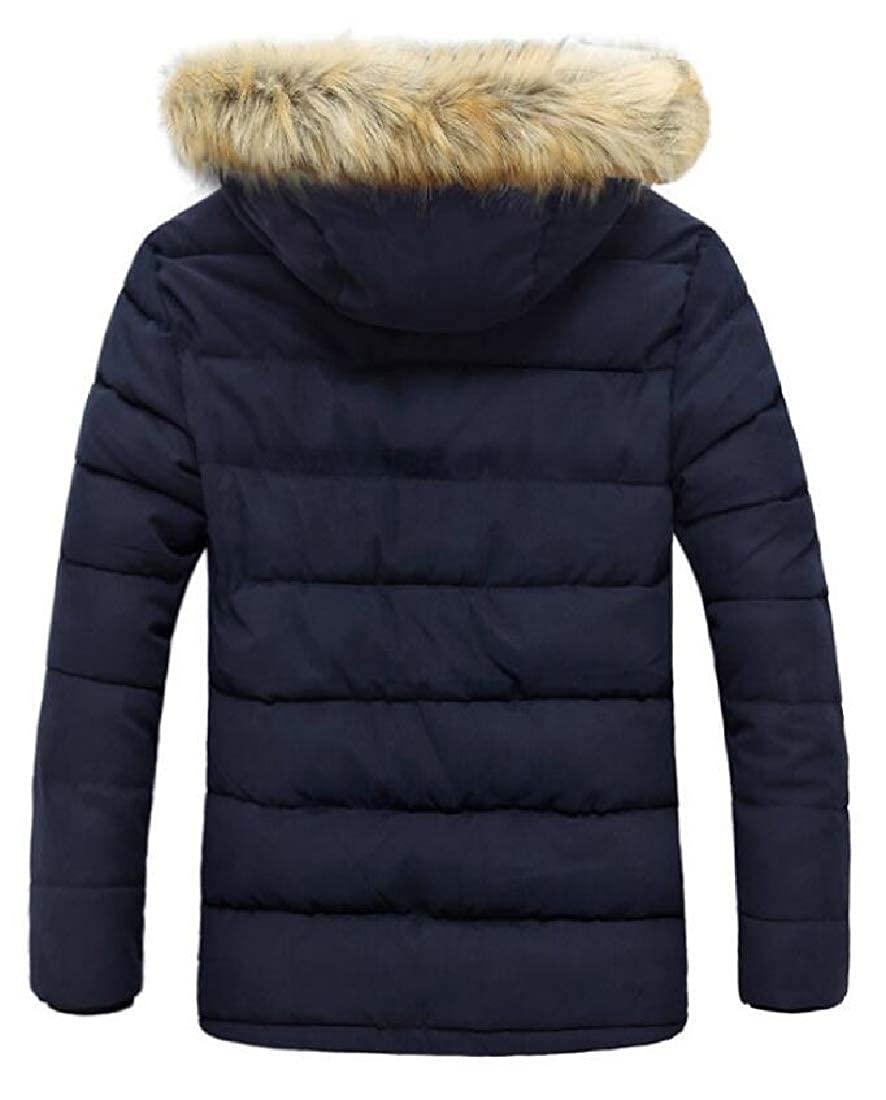 Yayu Mens Parka Puffer Coats Fur Hooded Thick Quilted Down Jacket