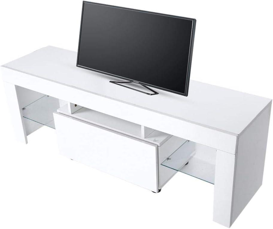 EBTOOLS Gabinete de TV LED Moderno Fuerte Mueble de Televisión con Tira de LED Control Remoto Decoración del Hogar Gabinete de Almacenamiento de Sala de Estar 51.18 x 13.78 x 17.72pulgadas Blanco: