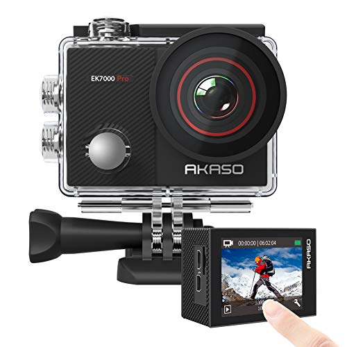 AKASO EK7000 Pro 4K Action Camera with Touch Screen EIS Adjustable View Angle 40m Waterproof Camera Remote Control Sports Camera with Helmet Accessories Kit from AKASO