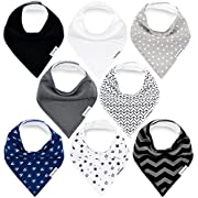 Baby Bandana Drool Bibs for Boys and Girls by TheAZBaby, Unisex 8 Pack Organic Cotton Bib Gift Set, for Teething and Drooling, Soft Absorbent and Hypoallergenic.