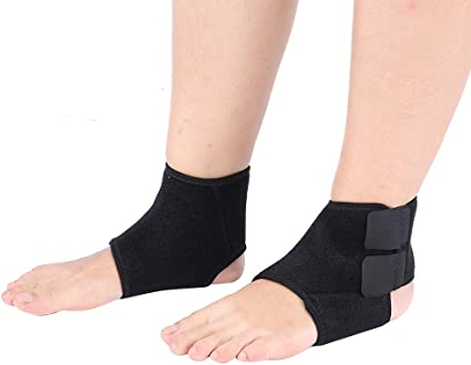 Ankle Foot Support Brace Guard Wrap Compression Sleeve for Women Men Black