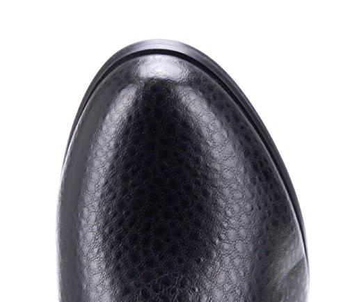 Schuhtempel24 Damen Schuhe Klassische Stiefel Stiefeletten Boots Blockabsatz Schnalle 5 cm Schwarz