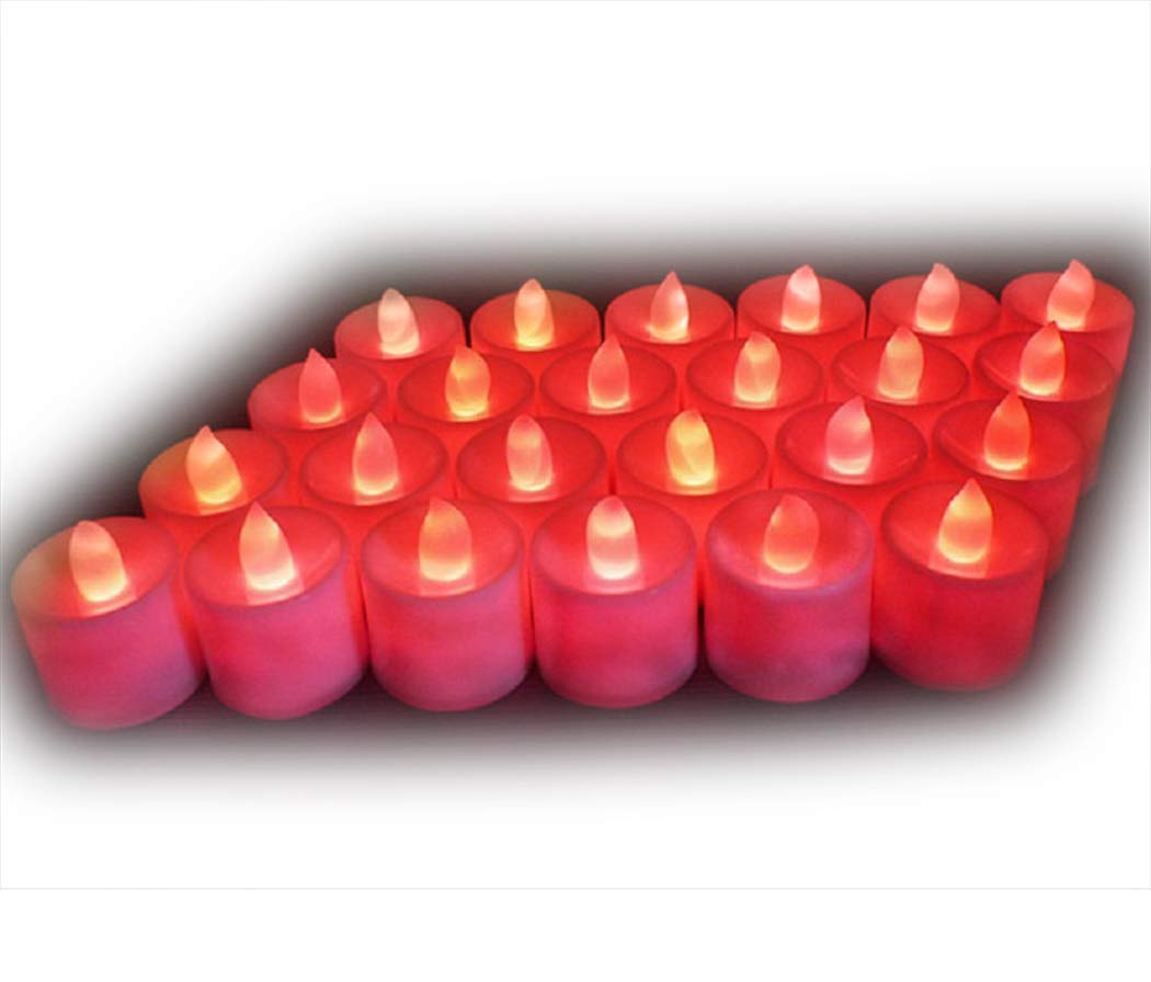 24* LED Candles Lights Mini Mood Plastic Tealights- Realistic Flameless Candles for Decorations Festivals Weddings with Batteries (Colour Changing) Little ants