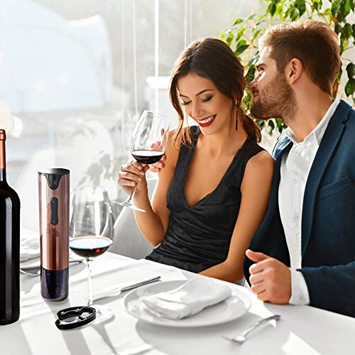 Electric Wine Opener Rechargeable Corkscrew Bottle Opener with Foil Cutter Stainless Steel Materials (Rose Gold) by FLASNAKE (Image #6)