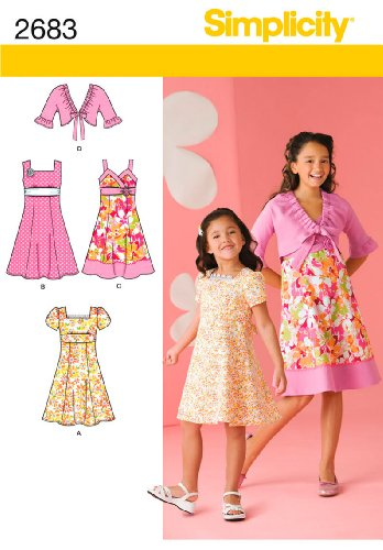 - Simplicity Sewing Pattern 2683 Girls Dress with Bodice Variations and Jacket Sizes: K5 (7-8-10-12-14)