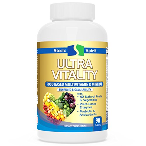 Daily Multivitamin Whole Food Supplement - 42 RAW FRUITS And VEGETABLES - Probiotics, Antioxidants And Enzymes - Best Non-GMO Potent Formula For Women and Men - By Steele Spirit (Vegetable Fruit Supplement)