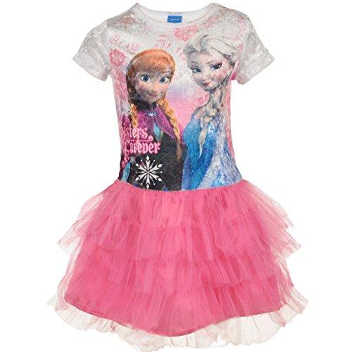Pink Girls Velour Dress - Disney Little Girls Frozen Velour Tutu Dress (Small (6), Pink)