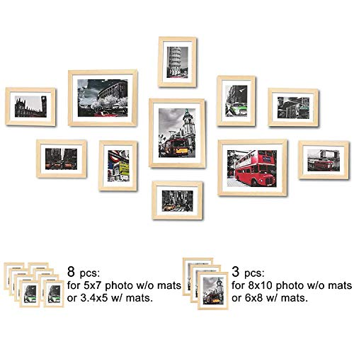 WOOD MEETS COLOR Wall Picture Frames Set of 11, with Hanging Template, Real Glass Window and Photo Mats, 3-8x10 and 8-5x7 Collage Frames (Original Color) ()
