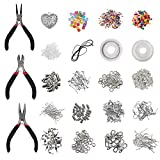Silver Plated Jewellery Making kit (1000 Pcs) with Pliers - 100% Nickel Free Jewelry Findings Starter Set - Jewelry Beading and Repair Tools – Jewellery Supplies Accessories Includes Wire, Beads