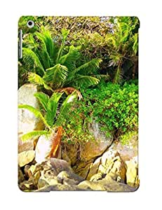 Ipad Air Case Cover - Slim Fit Tpu Protector Shock Absorbent Case (palms And Rocks At Shore )