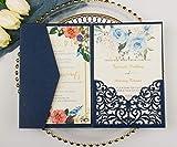 25 sets 5X7 250GSM Pearl Navy Blue Tri Fold Wedding