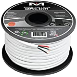 Mediabridge 12AWG 4-Conductor Speaker Wire (100 Feet, White) - 99.9% Oxygen Free Copper - ETL Listed & CL2 Rated for In-Wall Use (Part# SW-12X4-100-WH )