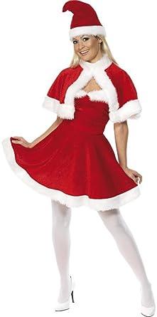 1cfbda4e4f05b Ladies Miss Santa Xmas Christmas Festive Mrs Claus Fancy Dress Costume  Outfit Hat & Cape (