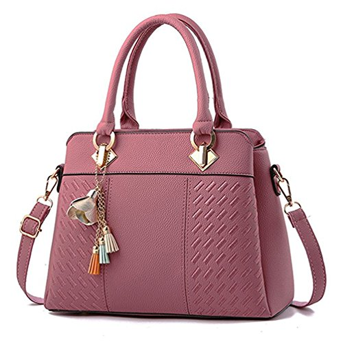 Fordicher Womens Handbags and Purses Ladies Fashion Top Handle Satchel Tote PU Leather Shoulder Bags Crossbody Bag (Rubber Pink)