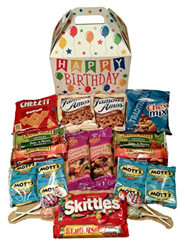 Happy Birthday Care Package features fun birthday themed Gift Box stuffed with savory snacks and sweet candy treats, the perfect gift for your college student, military, or co-worker.