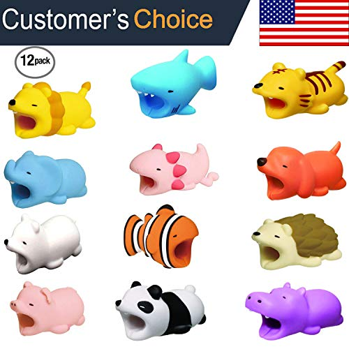 (LPVLUX Cable BITES for iPhone Cable Cord Cute Animal Phone Accessory Protects Cable Accessory (Pack 12))