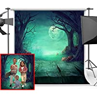 Maijoeyy 5x7FT Halloween Backdrop for Photography Green Night Wood Photo Backgrounds for Studio Props Vinyl Backdrops for Photographer