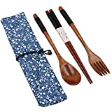 outdoor dining ware - Startostar 5-piece Portable Natural Wooden Tableware Set with Travel Pouch for Dining or Camping (Fork, Spoon, and Chopsticks)