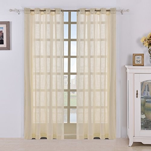 Best Dreamcity Faux Linen Sheer Curtains for Kitchen, Set of 2 Panels, W52