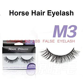 e8ea1588c47 M03 Handmade 100% Horse hair false eyelash false eye lash extensions  natural long thick artificial eyelash eye makeup cosmetics: Amazon.co.uk:  Beauty