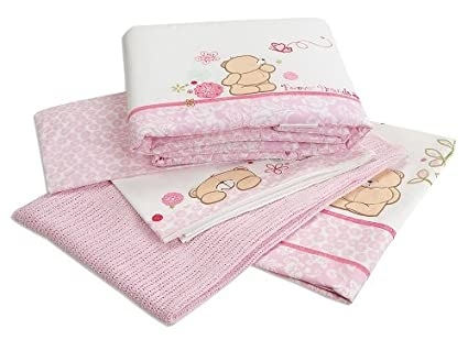 Bebé Nursery Forever Friends Rosa 100% algodón 5 piezas ropa de cama Bale Set